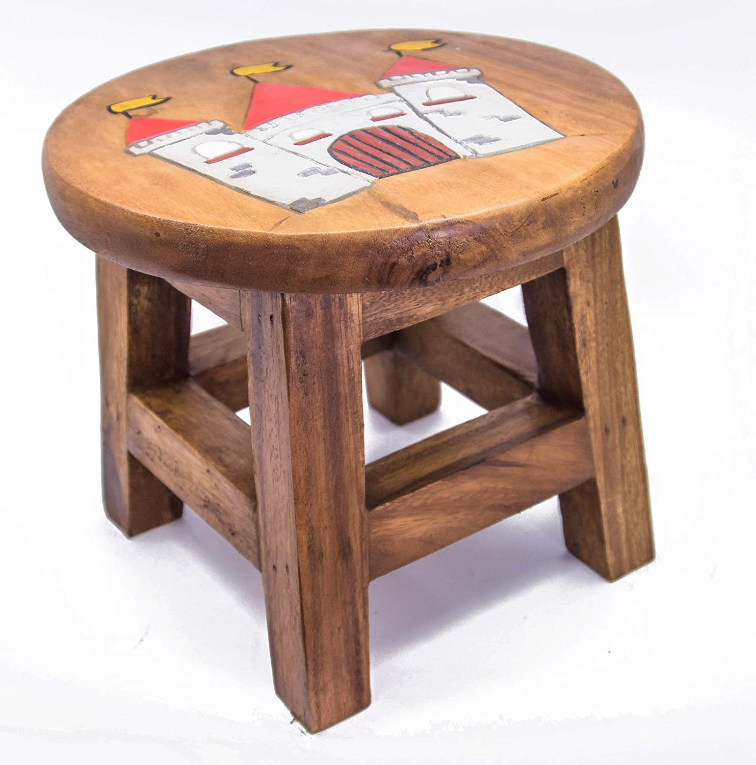 Children S Wooden Step Or Stool Castle Design Personalised